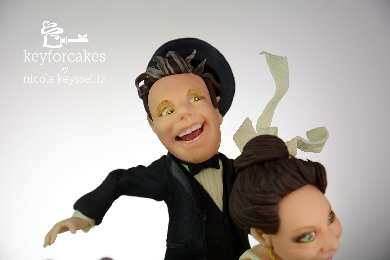 Da geht dem Herrn doch glatt der Hut flöten - Detailansicht Kopf des Bräutigams