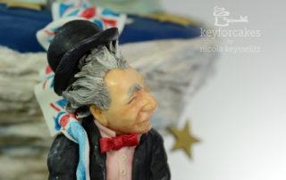 Wettbewerbstorte aus Modellierschokolade zur Cake International 2016 Thema Brexit, der Ausstieg Englands aus der EU