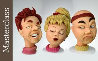 Gesichter modellieren Masterclass Key for Cakes - Charakteristische Gesichtsausdrücke leicht modelliert, Karikaturen aus Fondant und Modellierfondant