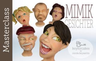 2020 Mimik-Gesicher Modellieren mit Fondant bei Keyforcakes