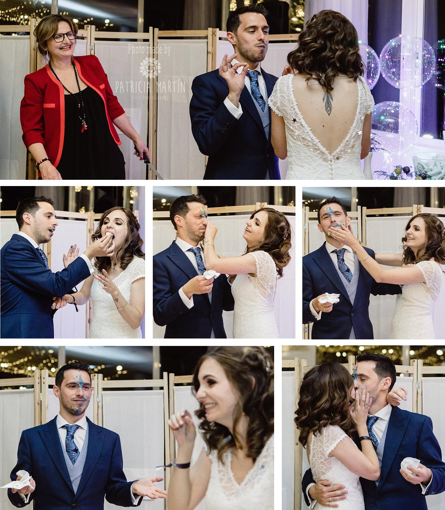 Lustige Szene nach dem Anschneiden der Hochzeitstorte