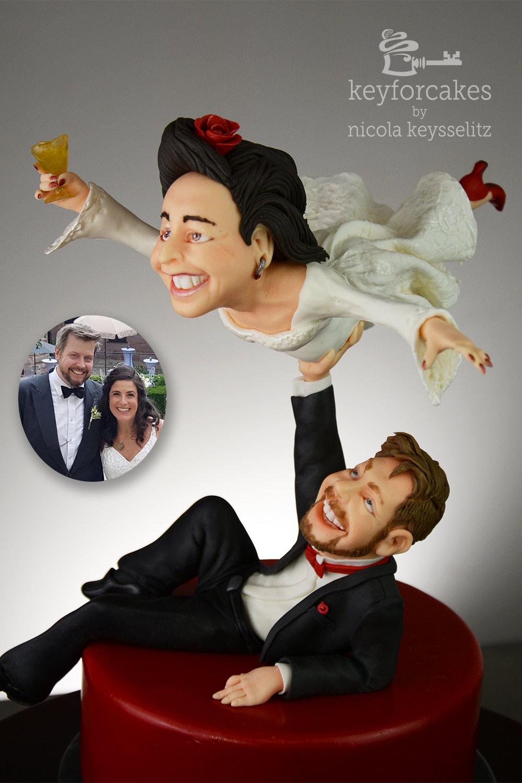 Die fliegende Braut - Tortentopper für Hochzeitstorte mit foto vom Brautpaar